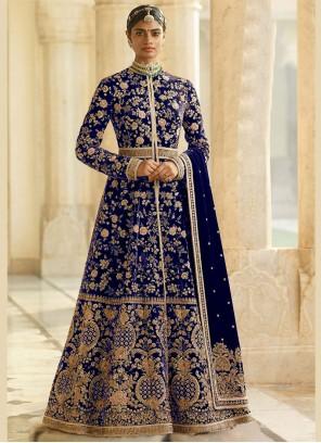 Blue Embroidered Velvet Desinger Anarkali Salwar Kameez