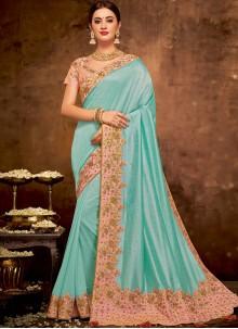 Blue Embroidered Wedding Classic Designer Saree