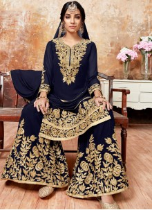 Blue Embroidered Wedding Designer Pakistani Suit