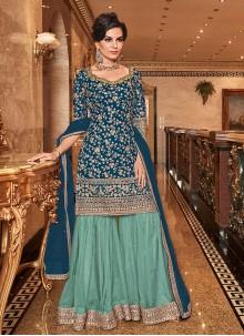 Blue Embroidered Wedding Designer Salwar Kameez