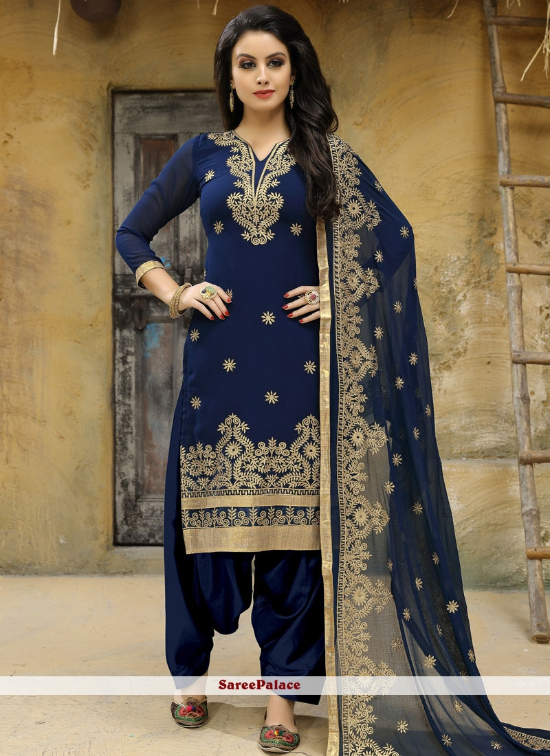 Blue Embroidered Work Faux Georgette Punjabi Suit