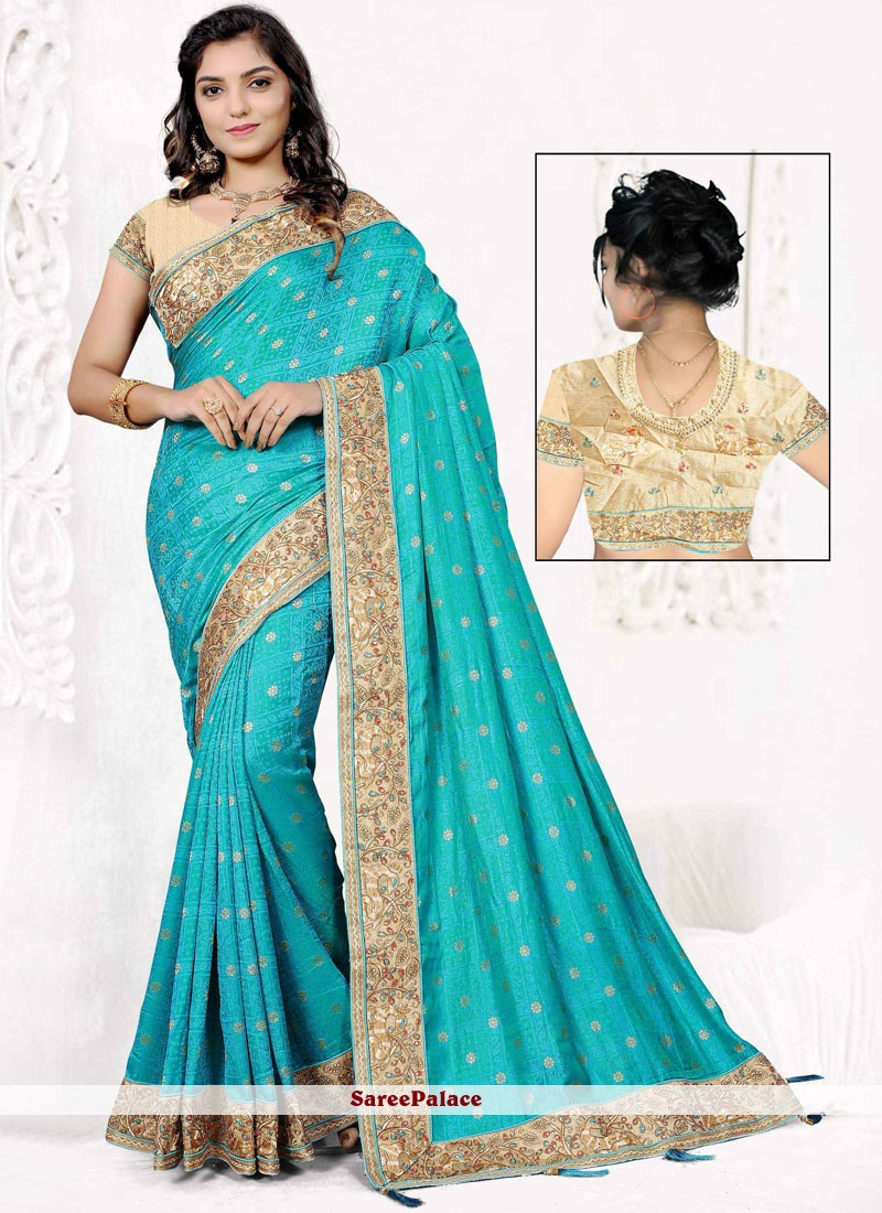Blue Embroidered Work Jacquard Silk Traditional  Saree