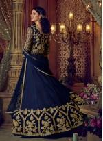 Blue Embroidered Work Long Choli Lehenga