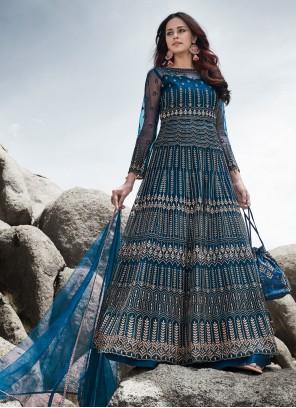 Blue Engagement Anarkali Salwar Kameez
