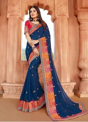 Blue Engagement Classic Designer Saree