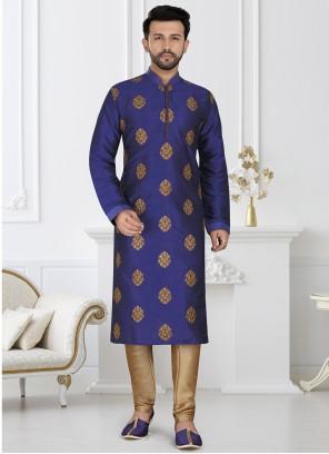 Blue Engagement Dupion Silk Kurta Pyjama