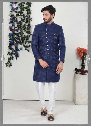 Blue Engagement Jacquard Indo Western