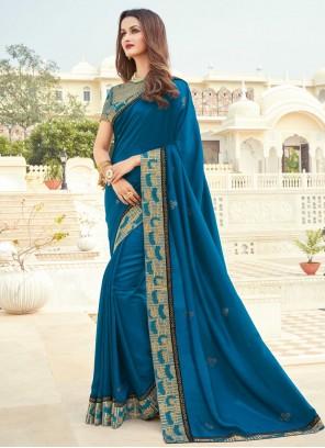 Blue Engagement Silk Designer Saree