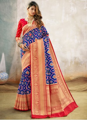 Blue Engagement Traditional Designer Saree