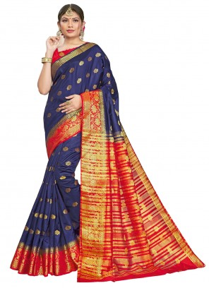 Blue Engagement Traditional Saree