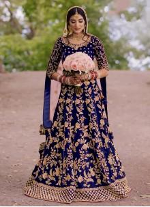 Blue Engagement Velvet Floor Length Anarkali Suit