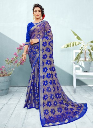 Blue Fancy Brasso Trendy Saree