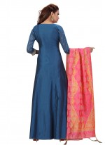 Blue Fancy Chanderi Floor Length Anarkali Suit