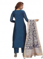 Blue Fancy Chanderi Pant Style Suit