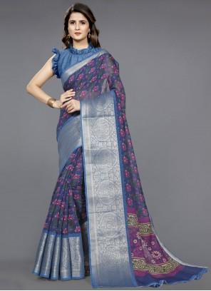 Blue Fancy Cotton Classic Saree