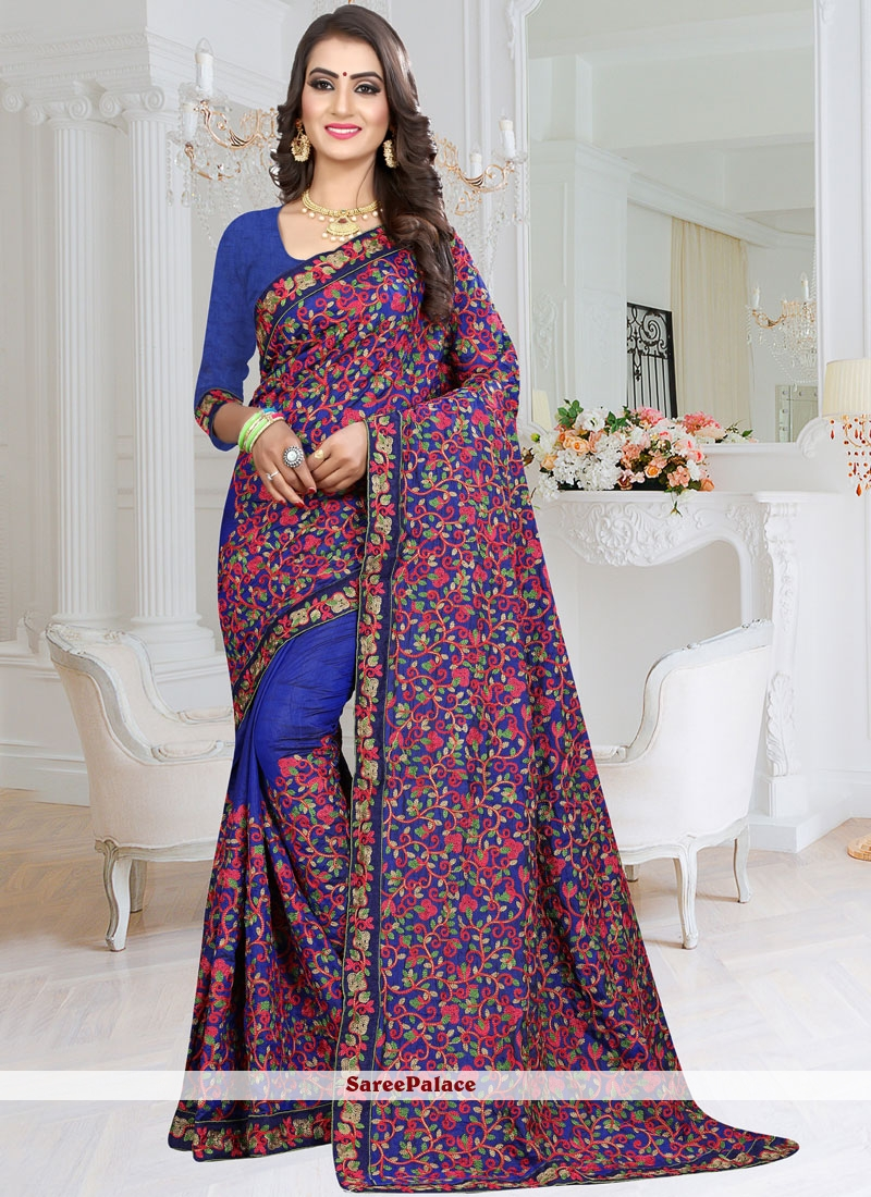 Blue Fancy Fabric Classic Saree