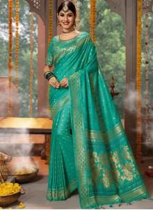 Blue Fancy Fabric Designer Traditional Saree
