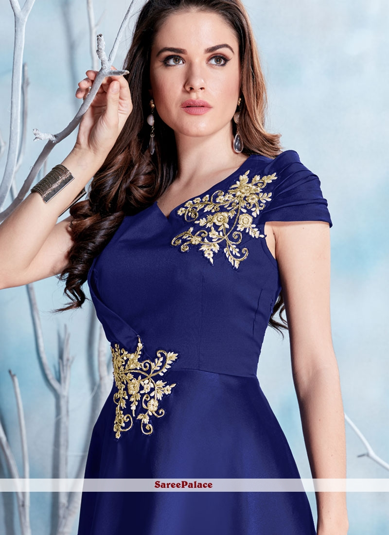 6e7d89e7588 Buy Blue Fancy Fabric Embroidered Work Readymade Gown Online
