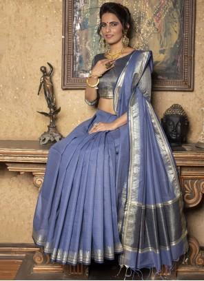 Blue Fancy Linen Trendy Saree