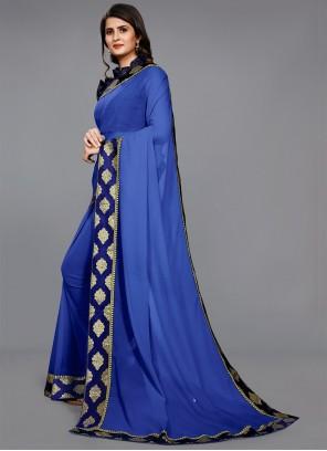 Blue Faux Chiffon Festival Casual Saree