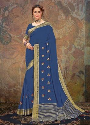 Blue Faux Chiffon Festival Designer Traditional Saree