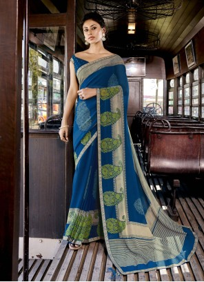 Blue Faux Georgette Abstract Print Printed Saree