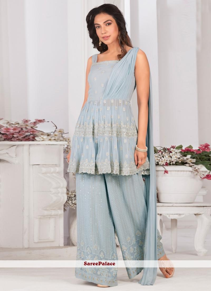 Blue Faux Georgette Designer Palazzo Suit