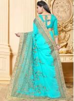 Blue Faux Georgette Embroidered Classic Designer Saree