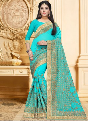 Blue Faux Georgette Embroidered Classic Designer Saree