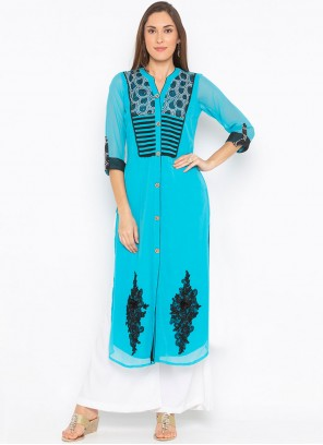 Blue Faux Georgette Embroidered Party Wear Kurti