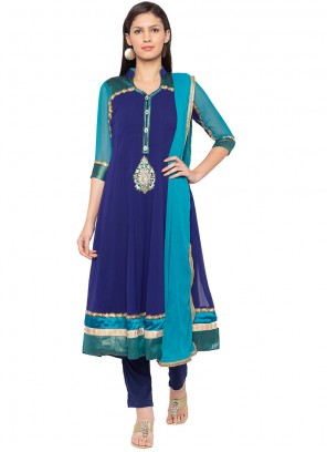 Blue Faux Georgette Embroidered Readymade Suit