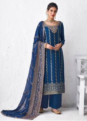 Blue Faux Georgette Engagement Designer Palazzo Suit