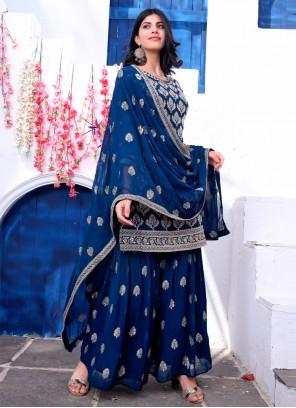 Blue Faux Georgette Fancy Readymade Suit