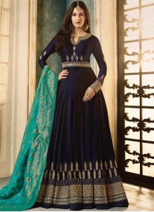 Blue Faux Georgette Floor Length Anarkali Suit