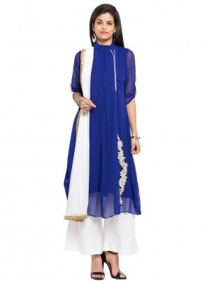 Blue Faux Georgette Mehndi Readymade Salwar Kameez
