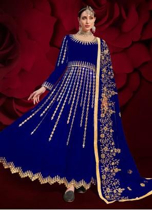 Blue Faux Georgette Mirror Floor Length Anarkali Suit