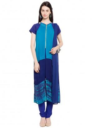 Blue Faux Georgette Printed Readymade Churidar Salwar Kameez