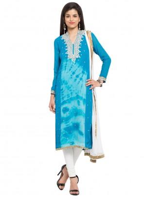 Blue Faux Georgette Readymade Churidar Salwar Kameez