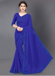 Blue Faux Georgette Trendy Saree