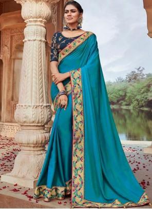 Blue Faux Georgette Wedding Classic Designer Saree
