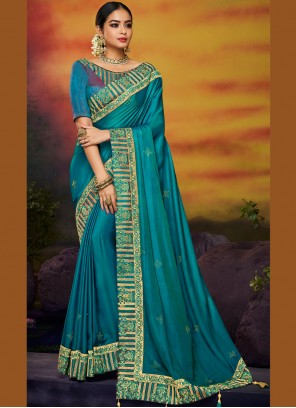 Blue Festival Art Silk Designer Traditional Saree