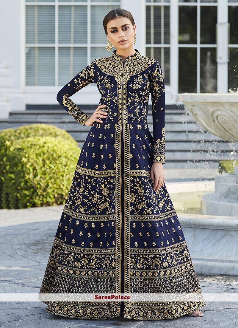 Blue Festival Art Silk Floor Length Anarkali Suit