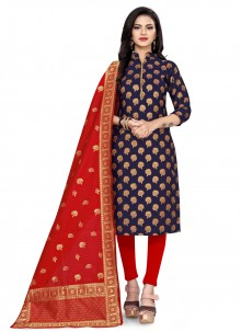 Blue Festival Banarasi Silk Churidar Suit