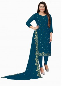 Blue Embroidered Faux Georgette Churidar Suit