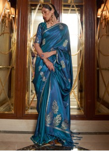 Blue Weaving Zari Work Satin Designer Saree