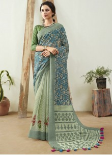 Blue Festival Cotton Saree