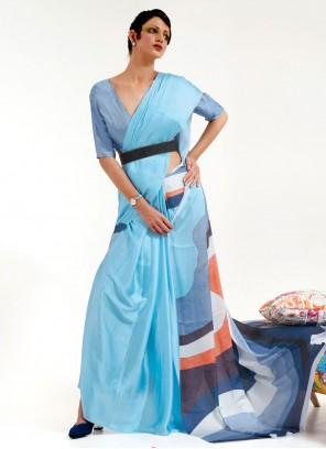 Blue Festival Faux Crepe Printed Saree