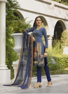 Blue Festival Faux Crepe Trendy Suit