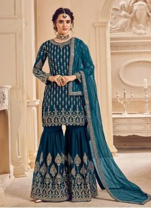 Blue Festival Faux Georgette Designer Pakistani Suit