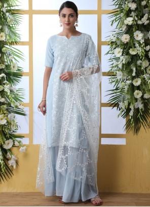 Blue Festival Faux Georgette Designer Palazzo Suit